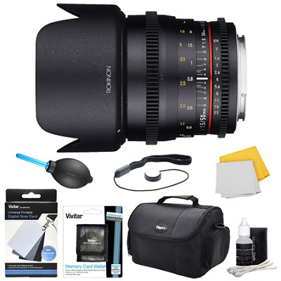 DS 50mm T1.5 Full Frame Wide Angle Cine Lens for Canon EF Mount Accessory Bundle