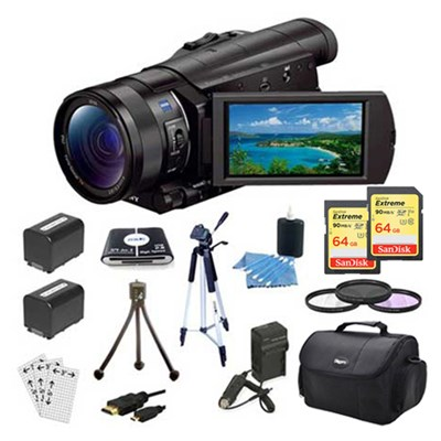 FDR-AX100/B 4K Camcorder with 1-inch Sensor & 128 GB Accessory Bundle