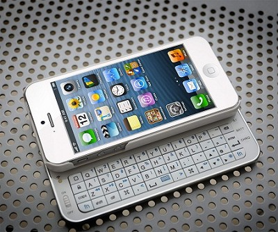 N5200 Ultra-Thin Bluetooth Slideout Keyboard for Apple iPhone 5 - White
