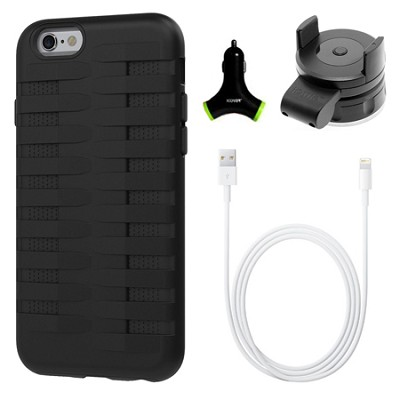 Cobra Apple iPhone 6 Silicone Dual Protective Case - Black Accessory Bundle