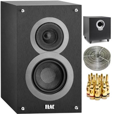 DB41-BK Debut B4 4` Bookshelf Speaker Pair Black w/ Subwoofer Bundle