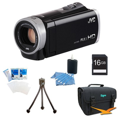 GZ-E300BUS - HD Everio Camcorder 40x Zoom f1.8 (Black) with 16GB Bundle