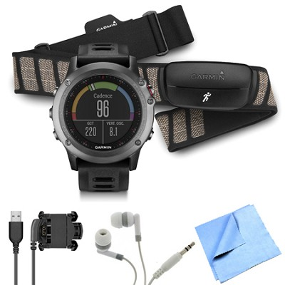 fenix 3 Multisport Training GPS Watch with Heart Rate Monitor Gray Bundle