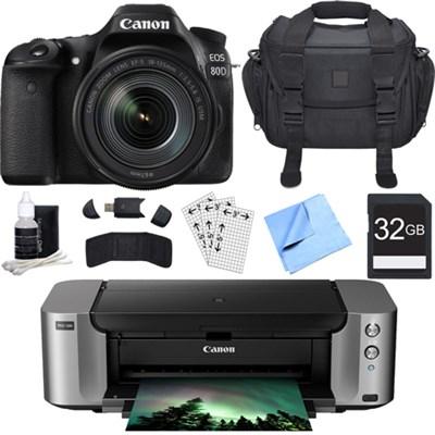 EOS 80D CMOS DSLR Camera w/ EF-S 18-135mm Lens + PIXMA PRO-100 Printer Bundle