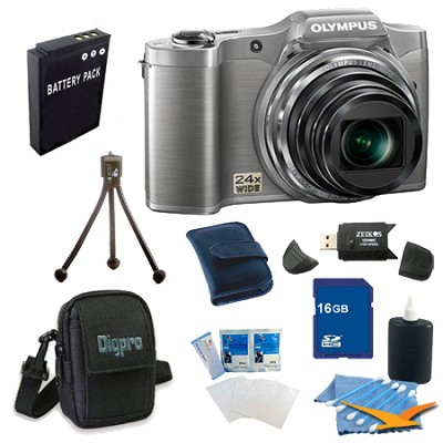 16 GB Kit SZ-12 14MP 3.0 LCD 24x Opt Zoom Digital Camera - Silver