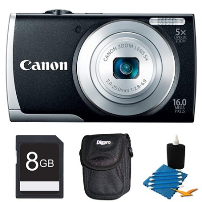 PowerShot A2600 Black 16MP Digital Camera 8GB Bundle
