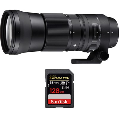 150-600mm F5-6.3 DG OS HSM Zoom Lens for Sigma with 128GB Memory Card