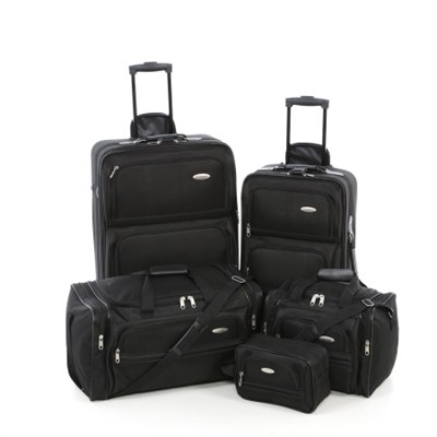 Luggage Lightweight 5 Piece Nested Travel Set (Jet Black)