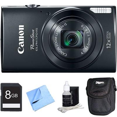 PowerShot ELPH 170 IS 20MP 12x Opt Zoom Digital Camera - Black 8 GB Bundle