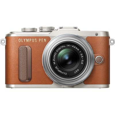 PEN E-PL8 16.1 MP Wi-Fi Brown Mirrorless Camera with 14-42mm IIR Silver Lens