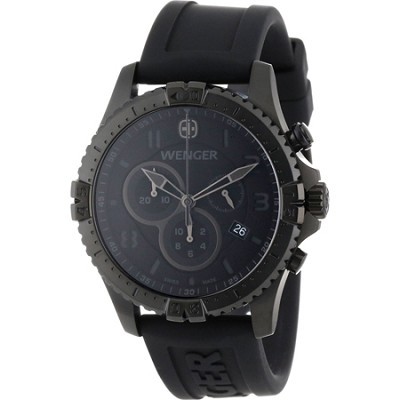 Men's Squadron Chrono Watch - Black Dial/Black Silicone Strap