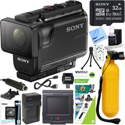 HDRAS50R/B Full HD Action Cam + Live View Remote & Water Action Kit Bundle