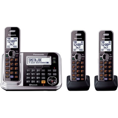 KXTG7873S DECT 6.0 3-Handset High Quality Phone System with Answering Capability