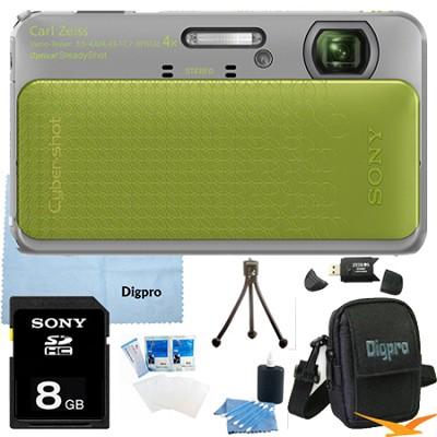 Cyber-shot DSC-TX20 16.2 MP Waterproof Shockproof Camera (Green) 8GB Bundle