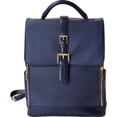 Isaac Mizrahi `KATHRYN` Full Size Coated Canvas Camera Backpack - Blue