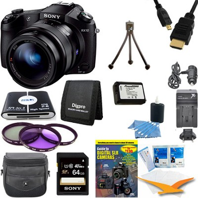 Cyber-shot DSC-RX10 Digital Camera 64 GB SDXC Card and Battery Bundle