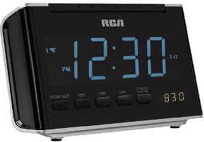 RC46 AM/FM Alarm Clock Radio with Large Blue LED Display (Black)