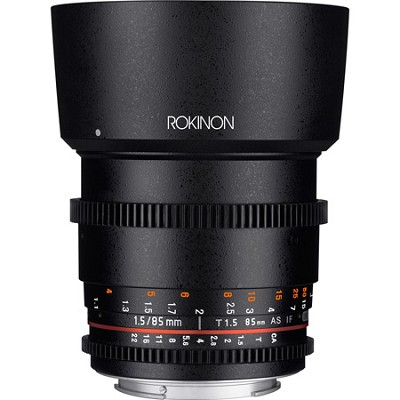 Rokinon DS 85mm T1.5 Full Frame Cine Lens for Canon EF Mount (Black)