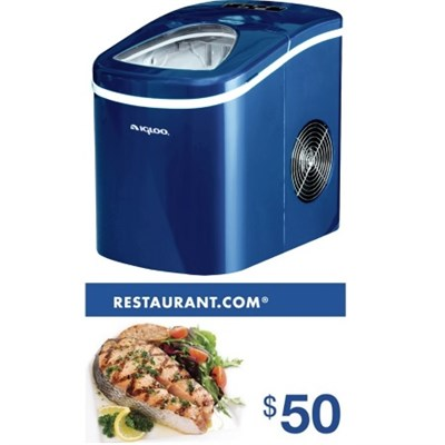 Compact Portable Ice Maker (Blue) + $50 Restaurant.com Gift Card