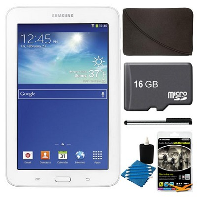 Galaxy Tab 3 Lite 7.0` White 8GB Tablet, 16GB Card, Headphones, and Case Bundle