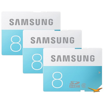 8GB Class 6 SDHC Memory Card 3-Pack (Up to 24MB/s)