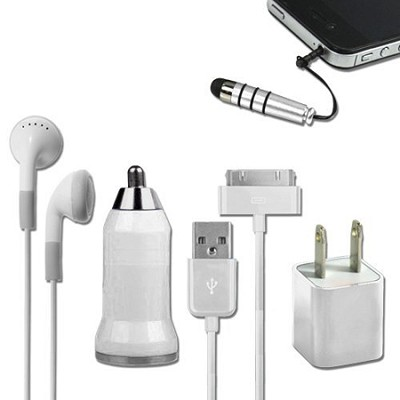 5-in-1 Travel Kit for iPhone 4/4S and 4th Generation iPods - White