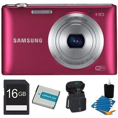 ST150F 16.2 Megapixel Digital Still Camera Red 16GB Kit