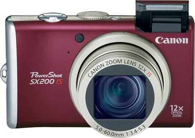 PowerShot SX200 12MP 12x Zoom Digital Camera (Red)