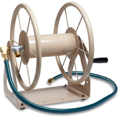 Multi-Purpose Steel Wall and Floor Mount Garden Hose Reel in Tan - 703-2