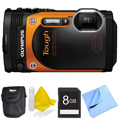TG-860 Tough Waterproof 16MP Digital Camera with 3-Inch LCD - Orange Bundle