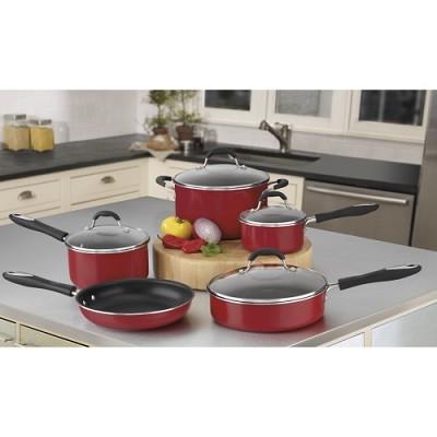 Advantage Nonstick 9-Piece Cookware Set - Red