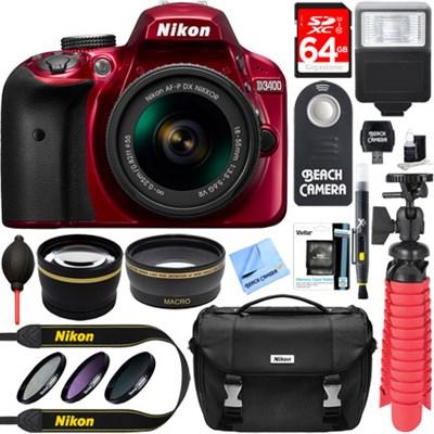 D3400 24.2 MP DSLR Camera w/ AF-P DX 18-55mm VR Lens Kit + Memory Bundle (Red)