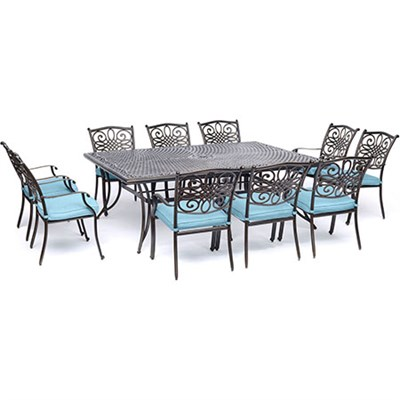 11pc Dining Set: 10 Dining Chairs 60x84  Cast Table