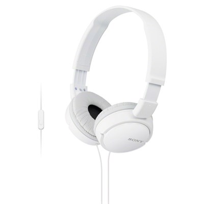 MDR-ZX110AP/W Extra Bass Full Size Headphones Smartphone Headset with Mic -White