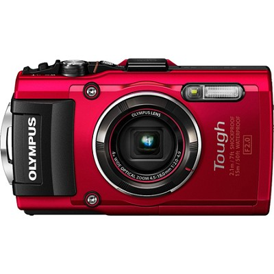TG-4 16MP 1080p HD Waterproof Digital Camera with 3-Inch LCD Display - Red