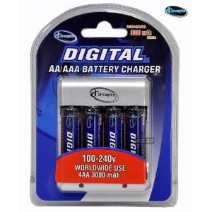 AA Charger (100-240v) w/ 4 3000mah AA Batteries