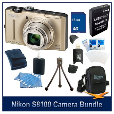 COOLPIX S8100 Gold Camera 16GB Bundle w/ Reader, Case, Battery, Tripod, & More