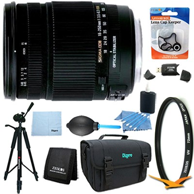 18-250mm F3.5-6.3 DC OS HSM Lens for Canon EOS Lens Kit Bundle
