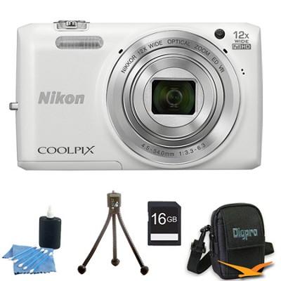 COOLPIX S6800 16MP 1080p HD Video Digital Camera White 16GB Kit Refurbished
