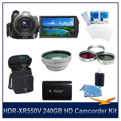 HDR-XR550V 240GB HD Camcorder w/Long Life Batt, Wide Angle Lens, Filter Kit,More