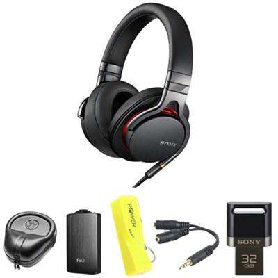 Premium High-Res Stereo Headphone - Black w/ FiiO A3 Amplifier Bundle