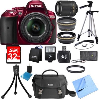 D5300 DX-Format Digital SLR Red with 18-55mm + 55-200mm VR II Lens Bundle