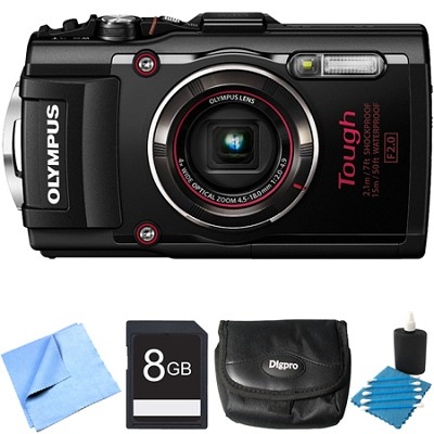 TG-4 16MP 1080p HD Waterproof Digital Camera Black 8GB Memory Card Bundle