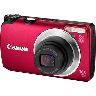 PowerShot A3300 IS 16MP Red Digital Camera w/ 720p HD Video - REFURBISHED