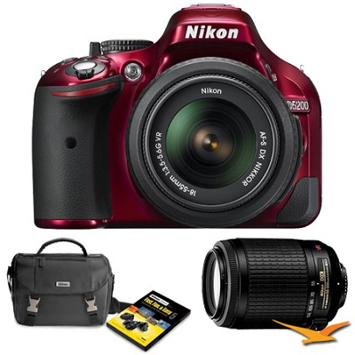 D5200 24.1 MP DSLR Camera Red 18-55mm VR & 55-300 VR Len Holiday Gift Bundle