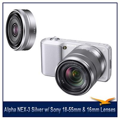 Alpha NEX-3 Interchangeable Lens Silver Camera w/18-55mm & 16mm f/2.8 Lenses
