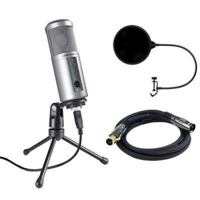 ATR2500-USB Cardioid Dynamic USB Microphone w/ Filter Bundle