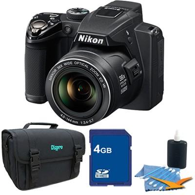 Coolpix P500 12MP Black Digital Camera 4GB Bundle