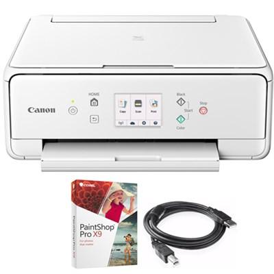 PIXMA TS6120 Wireless Printer w/Scanner & Copier White + Paint Shop Bundle