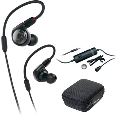 Professional In-Ear Monitor Headphones ATH-E40 with Audio-Technica Microphone